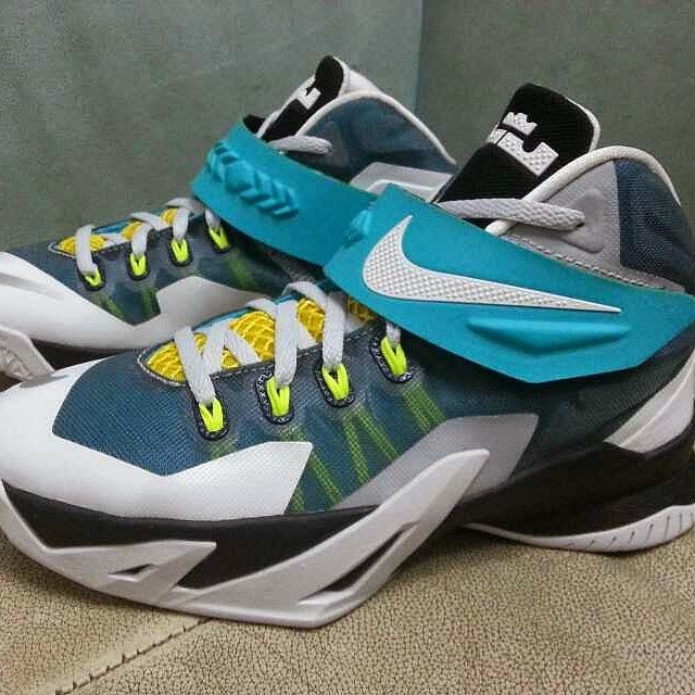 692d7c80518c Nike LeBron Zoom Soldier 8 in White Blue and Yellow ...