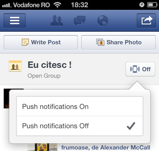 Facebook iOS app push notifications for groups