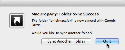 Figure 5 - MacDropAny Folder Sync Success message