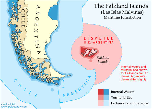 Map of territorial seas and exclusive economic zones (EEZ) around the Falkland Islands (Malvinas), controlled by the U.K. but claimed by Argentina