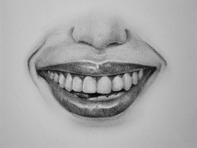 How to draw a mouth, how to draw lips, how to shade teeth