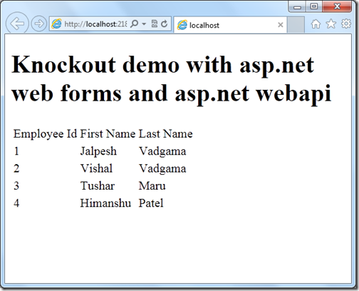 Browser demo with knockout,web api and asp.net web forms