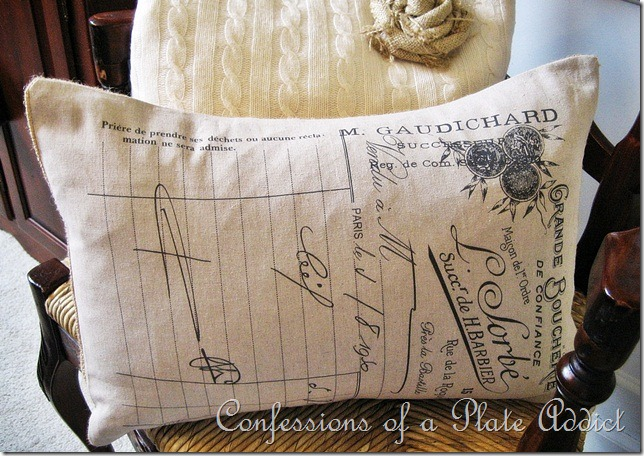 CONFESSIONS OF A PLATE ADDICT French Tea Towel Pillow