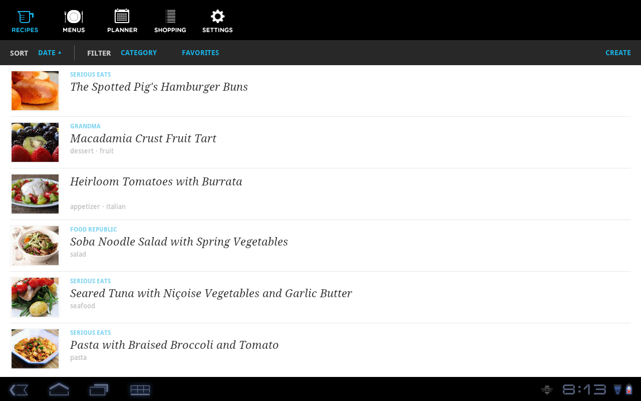 Recipe, Menu & Cooking Planner- screenshot