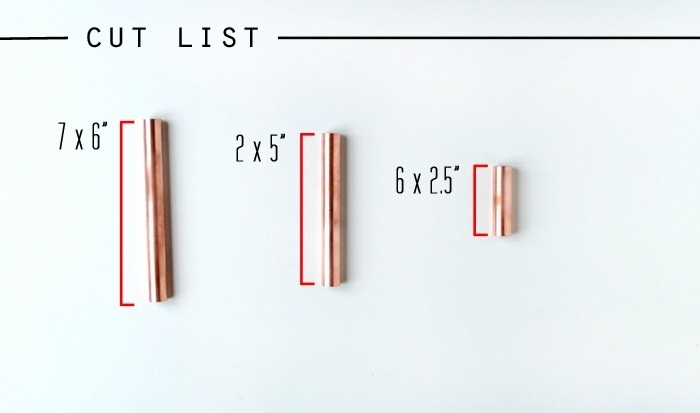 Cut List for Copper Pipe Candelabra