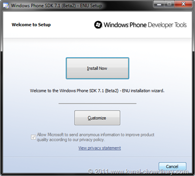 WP7.1 Mango SDK Beta 2 Installation Screen 10