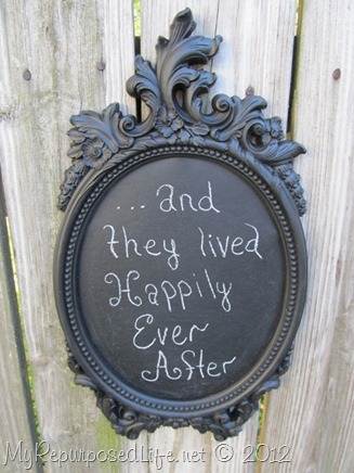 spray painted gold frame (chalkboard)