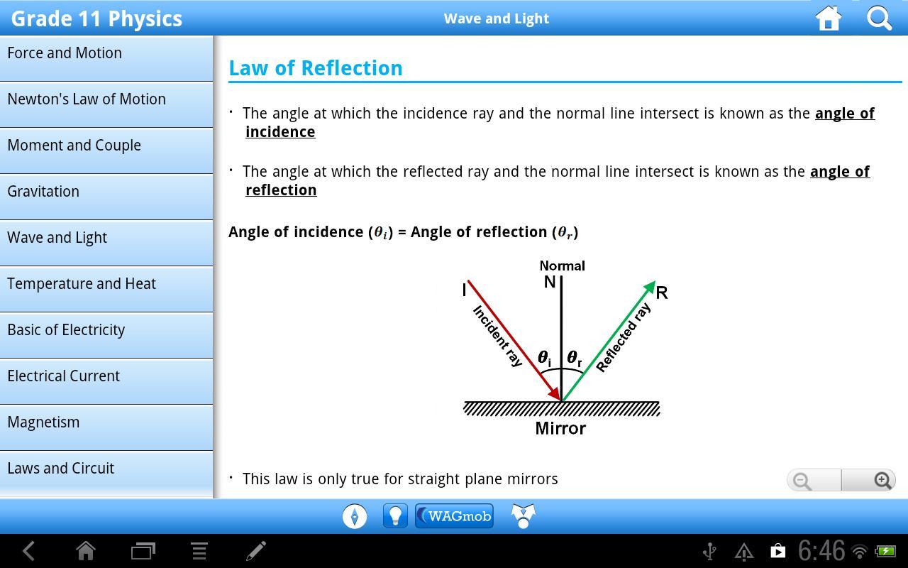 Grade 11 Physics by WAGmob - screenshot