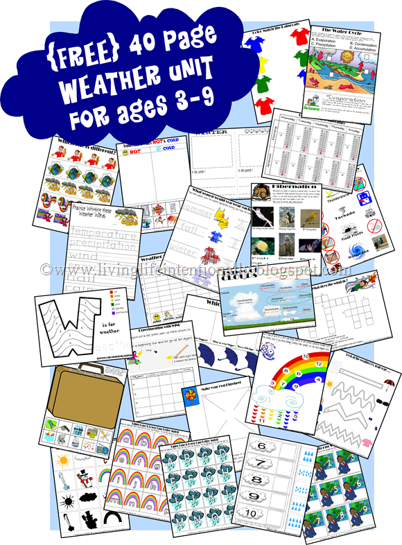 FREE weather unit for for learning about seasons, clouds, emergency preparedness, hibernating, rainbows, and so much more for Preschool Prek, Kindergarten, first grade, 2nd grade, 3rd grade, 4th grade, homeschool, summer learning, and more! LOVE!!
