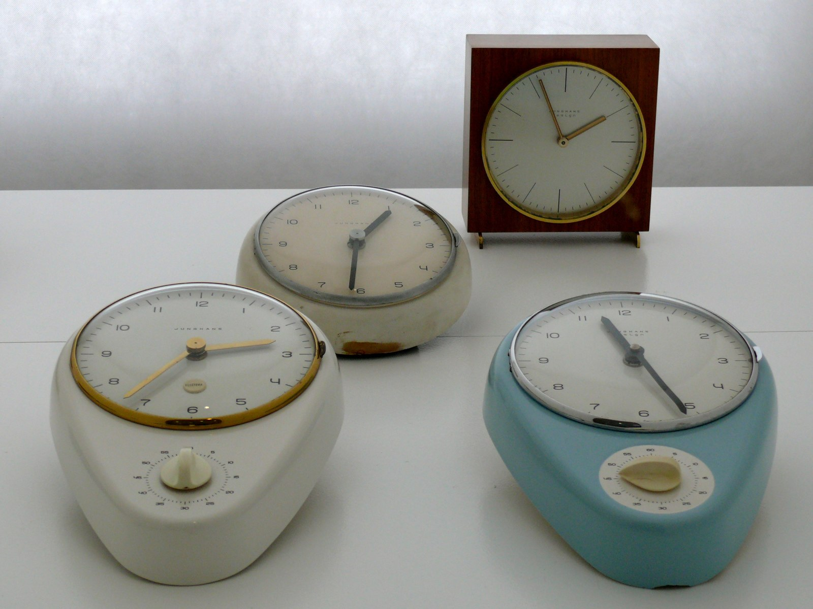 A short guide the original max bill junghans watch design from photo showing a few original junghans clocks which were designed by max bill from a max bill exhibition kitchen clocks wall clock table clock amipublicfo Images