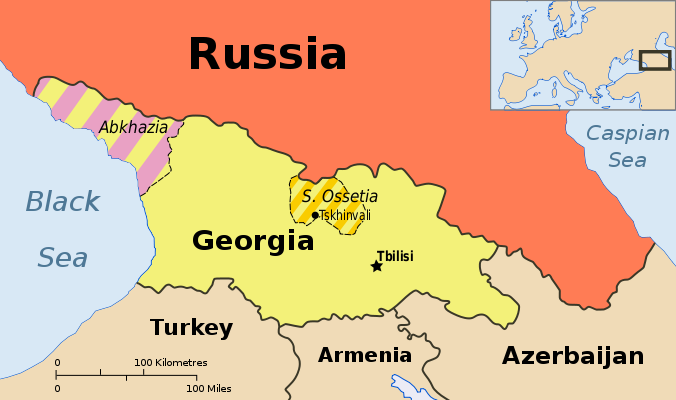 Map showing Abkhazia and South Ossetia, two breakaway states claimed by Georgia.