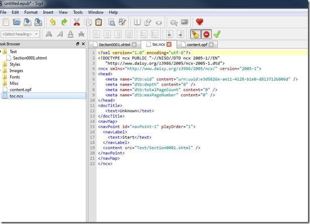 Vista de los ficheros que contiene un ePub vista con Sigil