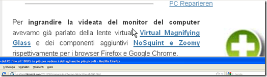 Ingrandimento con Magnifier Windows XP