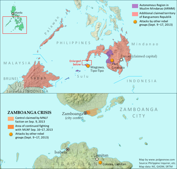 Map of territory in the Philippines and Malaysia claimed by the Bangsamoro Republik, plus territorial control by the Moro National Liberation Front (MNFL) as part of the the Zamboanga crisis.