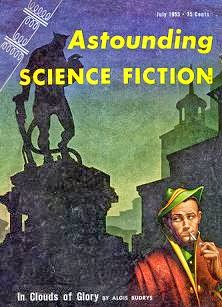 Cover by Kelly Freas of Astounding Science Fiction magazine, July 1955 issue.