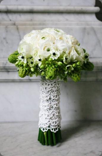 greenwhitecenterpiece7  white ranunculas collared by green arabicum  JL Designs