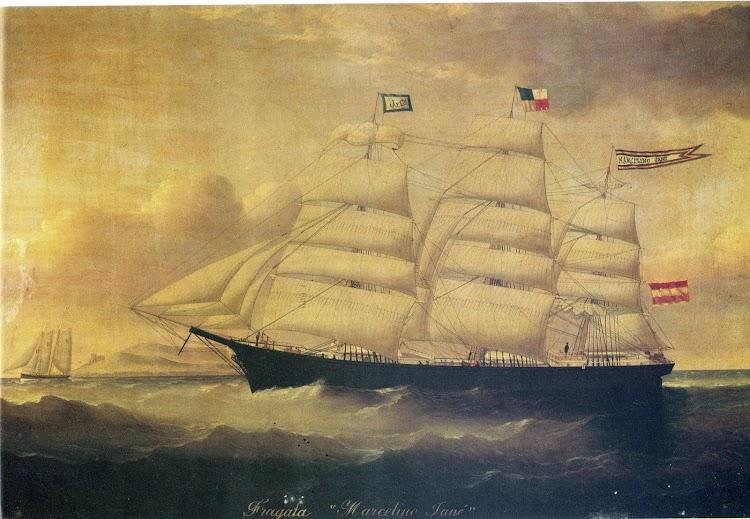 Fragata MARCELINO JANE. Oleo de W.H.Yorke del año 1875. Del libro El Museo Maritimo de Barcelona.JPG