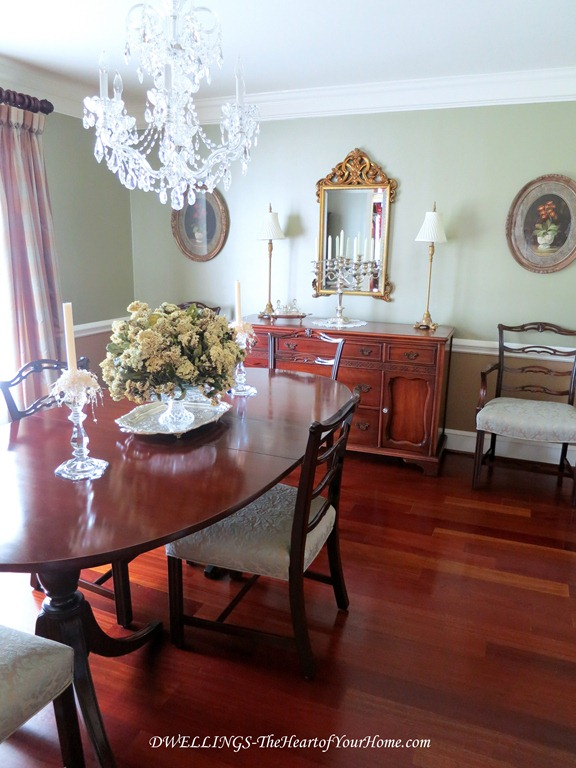 Antique cherry table and chairs in the dining room.