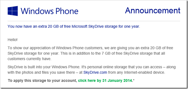 20 GB extra storage for Windows Phone users