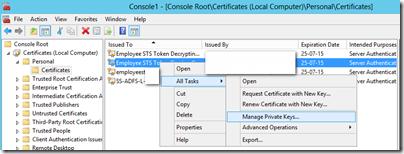 ADFS: Certificate Private Key Permissions | ADdict