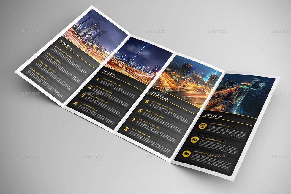 Bộ Mockup Brochure gấp 4 Double Gatefold