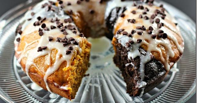 Pumpkin Chocolate Bundt Cake With Cream Cheese Glaze