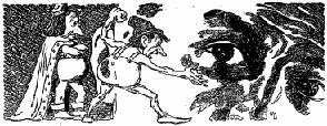 One of the illustrations by Orban accompanying the original publication in Unknown magazine of short story No Greater Love by Henry Kuttner. Image shows pixies threatening the human thief who stole their Love sigil.