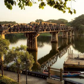 Bridge on River Kwai by Christopher Harriot - Buildings & Architecture Bridges & Suspended Structures ( river kwai, iron bridge, thailand, bridge on river kwai, bridge, river, kanchanaburi )