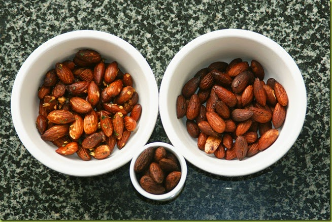 garlic and herb roasted almonds maple syrup and cinnamon spiced almonds nuts