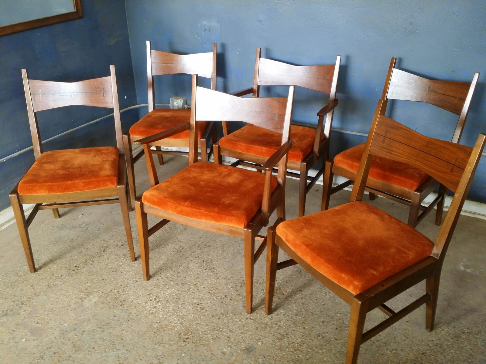 Incredible Vintage Ground Set Of Six Mid Century Lane Tuxedo Dining Chairs Bralicious Painted Fabric Chair Ideas Braliciousco