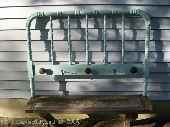 spool bed headboard coatrack