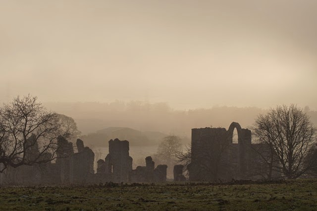 Castle Acre Priory in fog