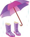 70894-Royalty-Free-RF-Clipart-Illustration-Of-A-Purple-Umbrella-With-A-Pair-Of-Boots-And-Rain