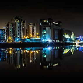 Bridges over the Tyne  by Neil Sturgeon - Buildings & Architecture Bridges & Suspended Structures ( river tyne, neon, millennium bridge, night time, newcastle, tyne bridge, bridges )