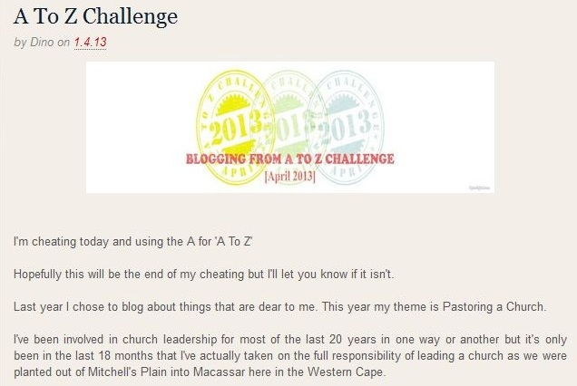 Blogging From A To Z Challenge 2013