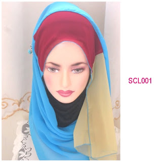 shawl chiffon 3 layer biru