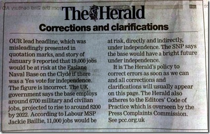 Faslane Herald jobs correction