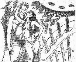 One of the illustrations accompanying the original publication in Thrilling Wonder Stories magazine of novella Sword of Tomorrow by Henry Kuttner