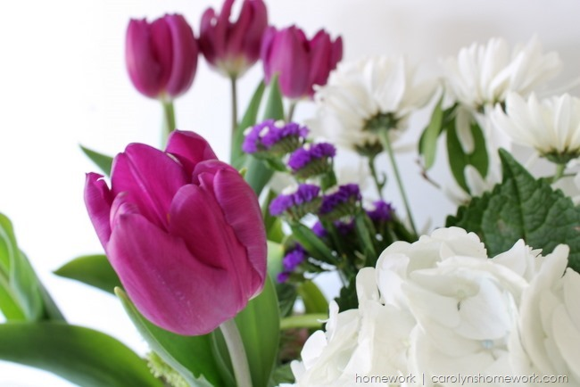 Spring Flowers inspired by Radiant Orchid via homework | carolynshomework.com