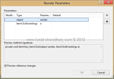 Visual Studio 2012 Refactor - Reorder Parameters