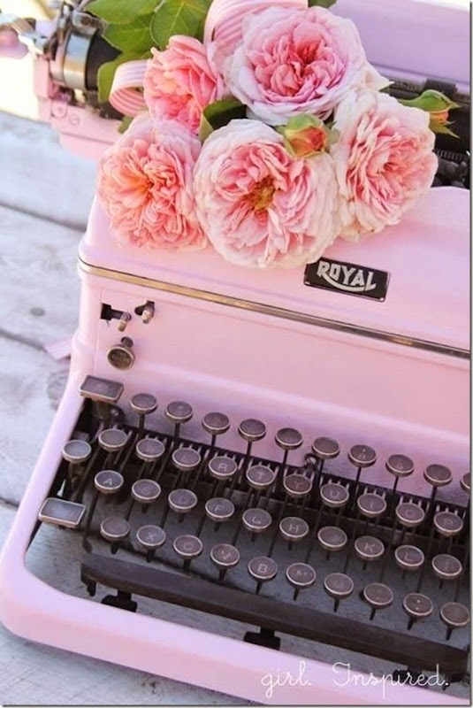 Pretty pink flowers and vintage pink tyypewriter
