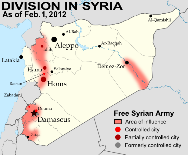 Political geography now syria divided by armed conflict for Syria war template