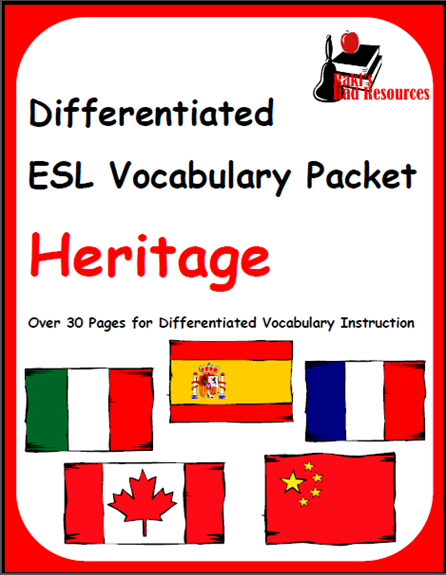 ESL students need to be able to describe their heritage and the heritage of their friends. This free ESL vocabulary packet will help you do just that. Free download from Raki's Rad Resources.