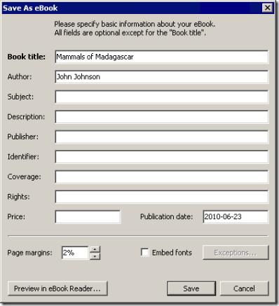 Pantalla de opciones de la exportación a eBook de Atlantis