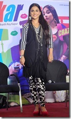 Cute Vidya Balan Photos in Black and White Checkered Dress