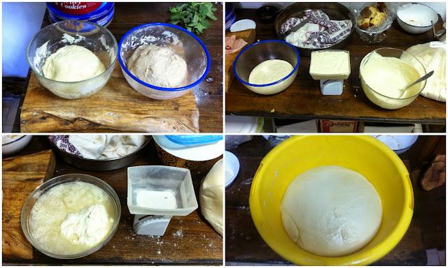 Mezcla de la harina, la masa madre, el agua y la sal.