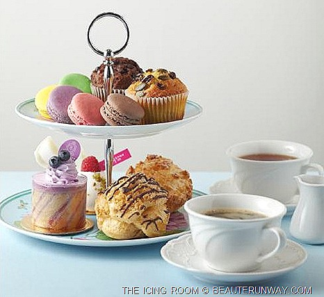 THE ICING ROOM HIGH TEA INDULGENCE SET cookie puff, two macarons, cheese bar, choice of sliced cake muffins coffee or tea