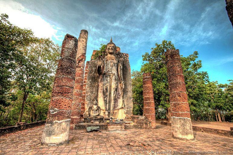 Buddha statue on hill Sukhothai Thailand