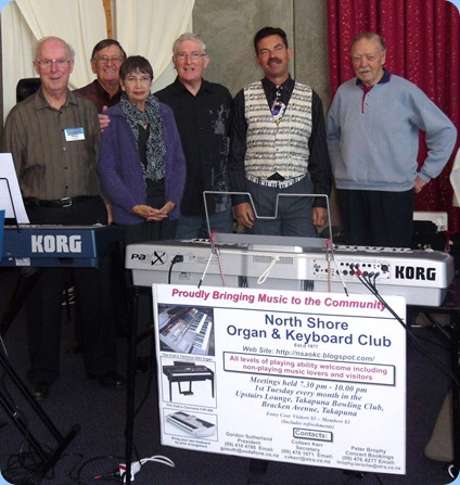 The NSOKC Team that played for Albany Community Music at The Holy Cross Church, Albany. The Concert was in aid of the Church financing their new Johannus 3 manual organ. Left to right: Peter Brophy; Len Hancy (MC for concert); Colleen Kerr; Gordon Sutherland; Peter Littlejohn; and Colin Crann.