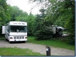 4501 Bass Lake Provincial Park - our motorhome in camp site #48 and Don & Shirley's in #5